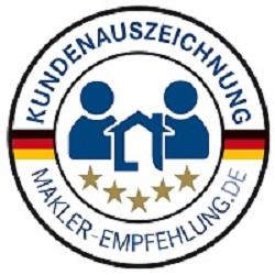 """immoorga Gütesiegel von makler-empfehlung.de: Immobilienmakler """"sehr empfehlenswert"""" seit 2012"""